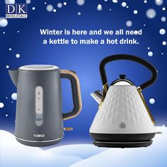 Winter is here and we all need a kettle to make a hot drink! This winter we at DK Wholesale bring you a jaw-dropping wholesale price on the purchase of a wide range of kettles and other various products in wholesale. We have branded kettles such as Tower, Daewoo, Swan, Kitchen Perfected, Argyle, and many more. Kitchen Gadgets, Kitchen Appliances, Domestic Appliances, Fruit Juicer, Winter Is Here, Kettles, Swan, Food Processor Recipes, Coffee Maker