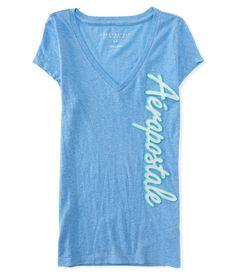 Camiseta Aeropostale Feminina SCRIPT V NECK - Azul