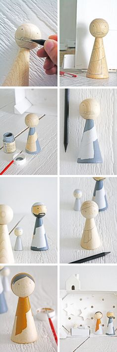 DIY wooden peg dolls-seen these on etsy. Can I do this?  Make them into a Nativity.