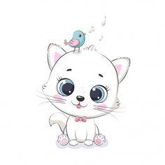 Gato bebê fofo com pássaro. ilustração p... | Premium Vector #Freepik #vector #bebe #carater #ave #animal