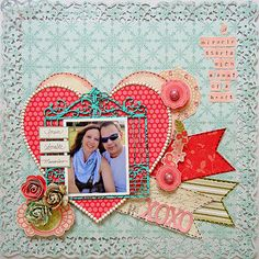 The lacy edge punched out is just lovely, and I love the layered hearts and the notched strips of paper.  Fantastic layout.
