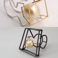 Some wonderful 'structural' rings which highlight the impact that negative space can have on a design. Italian jeweller Stenia Gioielli has crafted a excellent collection. http://www.steniagioielli.it #adornment #design #inspiration #jewellery #bijoux #handcrafted #structural #negativespace #pearls #gems #jewelry #contemporaryjewellery #steniagioielli