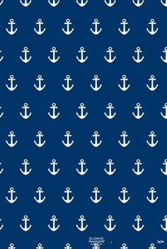 White anchors and blue wallpaper