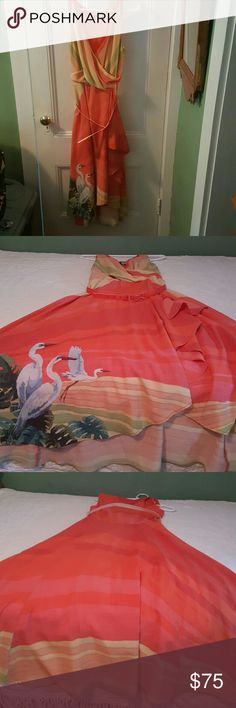 Summer time happy dress So this lovely  lady was love at fist sight!!! I found sunshine in a magazine  under  must haves for the summer. My heart skipped a beat I love flamingos  and other exotic  birds and sunshine had two very elegant  happy birds right up front!!!! Looked her up and over 500. Dollars no sunshine fir me. But one day sunshine went on sale and we were united at last!!She is a high low dress made.of soft flowing fabric. Sunshine  is a fo-wrap dress. She is one of my favorites…