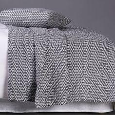 Black and white ikat print bedspread set