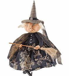 """• Hand painted fabric witch. • Size: 23"""" Tall. • Joe Spencer Halloween of Gathered Traditions Design for Gallerie II. • Imported."""