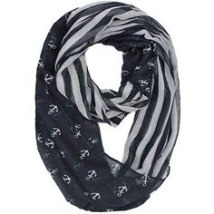 Black & Gray Striped Anchor Print Lightweight Circle Scarf ($17) ❤ liked on Polyvore featuring accessories, scarves, black, lightweight, grey infinity scarf, striped scarves, circle scarves, gray scarves and tube scarf