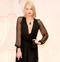 Margot Robbie Stuns in Plunging Oscars 2015 Gown, Shows Off Haircut - Us Weekly