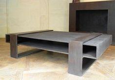 Design coffee table: industrial style SQKUB CROCO by Philippe Tissot Lafarge