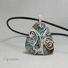 Jasper pendant with non-tarnish silver plated wire