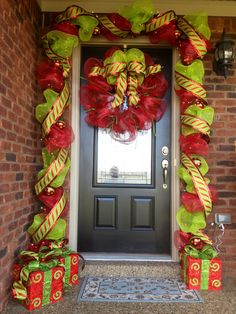 Deco Mesh and Ribbon Entry Way for Christmas