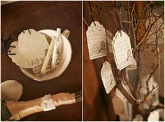 """vintage tags for guests to write on for the bride and groom.  Then hung on a """"tree"""" decoration to display for everyone to enjoy"""