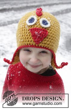 "Crochet DROPS chicken hat with ear flaps in ""Alaska"". Size 1-8 years ~ DROPS Design"