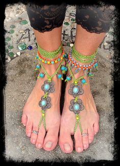 Crochet Gypsy Sandals sole less shoes . Ankle Jewelry, Ankle Bracelets, Jewlery, Crochet Cord, Hand Crochet, Hippie Shoes, Beaded Anklets, Bare Foot Sandals, Shoes Sandals