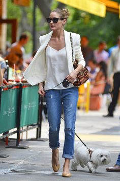 Olivia Palermo - purse Mulberry - jeans Paige - jacket Rebecca Minkoff - shirt Tibi and shoes Andrea Carrano
