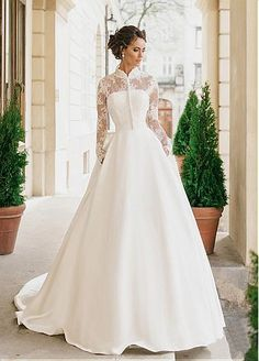 Gorgeous Satin High Collar Neckline A-line Wedding Dresses With Detachable Jacket
