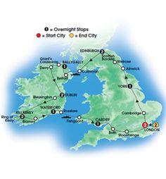 2013 BRITISH & IRISH GRANDEUR 15 Day Escorted Coach Tour of Britain & Ireland - Deluxe & Superior First Class Hotels - Overnights: 2 London, 1 York, 2 Edinburgh, 1 Ballygally, 2 Dublin, 2 Killarney, 1 Waterford, 1 Cardiff, 2 London - Starts/Ends London - CIE Tours