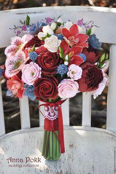 """Свадебные цветы ручной работы. Ярмарка Мастеров - ручная работа. Купить Букет невесты """"Marsala"""". Handmade. Бордовый, анна покк"""