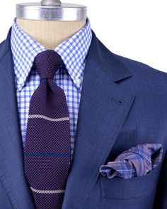Check shirt with Texture Tie Men's Fashion, Fashion Outfits, Suit Combinations, Men's Wardrobe, Warm Outfits, Dress For Success, Suit And Tie, Well Dressed Men, Gentleman Style
