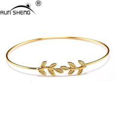 2016 Leaves Gold & Silver Plated Bracelets & Bangles Fashion Open Bang – ROSalarsJewelry