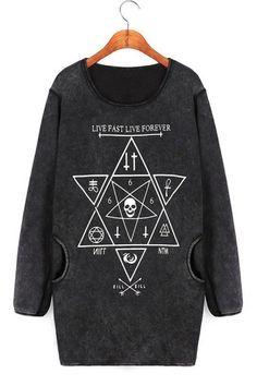 Hexagram Graphic Wash Sweatshirt OASAP.com