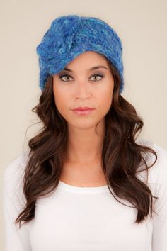 Knit Headband with Bow bright blue headband cobalt blue by Volang