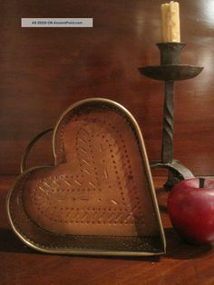 Antique 1800s Hand Made Copper Heart Cheese Food Mold Strainer Sieve