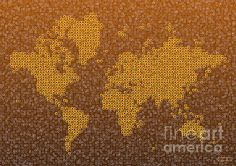 World Map Kotak In Brown by elevencorners. World map wall print decor. #elevencorners #mapkotak