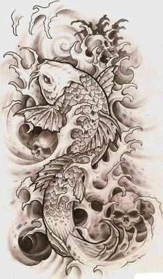 vse-o-tattoo.ru sketches nature karp-koi