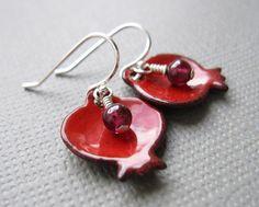 Pomegranate Earrings Red Enamel Garnet by Armillatadesigns on Etsy