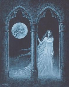 Enter the realm of gothic fantasy artist Joseph Vargo, a chilling, mist-shrouded world of forlorn ghosts, brooding vampires, living gargoyles and other creatures of the night. Arte Horror, Gothic Horror, Horror Art, Gothic Fantasy Art, Fantasy Artwork, Beautiful Dark Art, Vampire Art, Creatures Of The Night, Goth Art