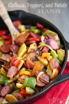 This Kielbasa, Peppers, and Potato Hash is a delicious and easy dinner recipe that takes just 20 minutes and one skillet! Full of fresh veggies and turkey kielbasa makes this dinner both nutritious and filling!