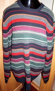 J.Crew Men 100% Lambs Wool Striped Awesome Sweater SZ XL Excellent Condition #JCrew #Sweater