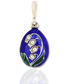 Lilies of the Valley Enamelled Egg Pendant