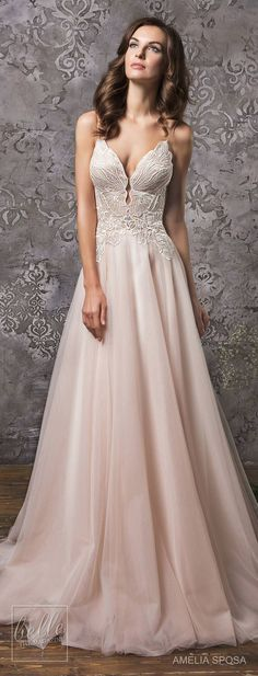 Amelia Sposa Wedding Dress Collection Fall 2018 bridal | Blush bridal gown | Pink ball gown for a princess bride | #weddingdress #weddingdresses #bridalgown #bridalgowns #weddings #bride