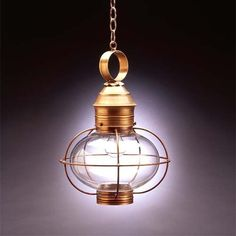 Antique Copper Clear Seedy 17-Inch Hanging Onion Lantern - (In Antique Copper w/ Clear Seedy Glass)