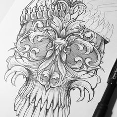 Appreciate all those who tuned in to the live session. Slow progress but illustrating and answering questions had my attention split. More to come in the days ahead! #skull #pencil #filigree #flourish #illustration#sweyda