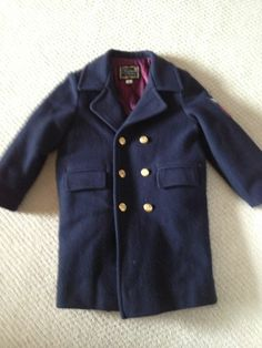Toddler boy Fieldston Clothes double breasted navy blue pea coat Sz 4T 4 Cute!