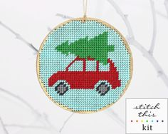 "christmas ornament needlepoint kit - diy - bringing home the tree - 4"" - aqua or white - contemporary - modern"