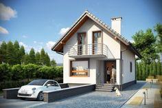 Dom parterowy z garażem, z poddaszem mieszkalnym, częściowo podpiwniczon Small House Plans, Exterior Design, Future House, New Homes, Cabin, Cottage, Pictures, Mansions, House Styles