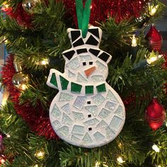Snowman Ornament Stained Glass Mosaic Snowman by BlueOceanGlass