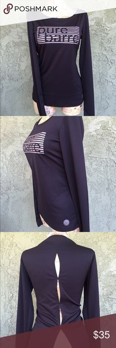 "Pure Barre ""Rasha"" Long Sleeved Top - Black (XS) Pure Barre ""Reasha"" Long Sleeved Top - Black (XS) Splits 59, Fall 2015. Tags removed, washed once, never worn. I bought this top but the fit was too big. I have a petite build and the length was too long. Perfect condition. 100% polyester. Machine wash cold. Do not bleach. Do not iron. Splits 59 Tops Tees - Long Sleeve"