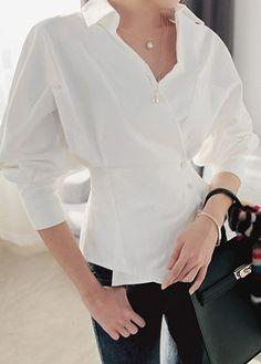 Asymmetric Hem Long Sleeve White Blouse | Rosewe.com - USD $33.23