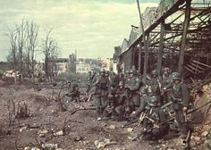 German soldiers in the ruins of the factory during the Battle of Stalingrad. November 1942.