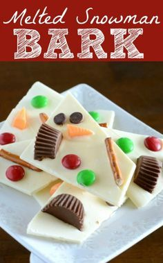 melted snowman chocolate bark. cute winter treat idea.