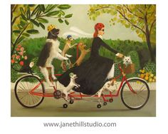 Miss Moon Was A Dog Governess.  Lesson Nine  by janethillstudio, $38.00