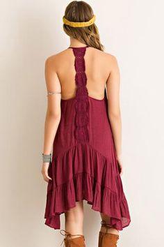 Gotta Have It! Garnet Handkerchief Hem Game Day Dress