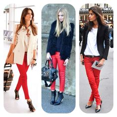 Red jeans 3 ways...
