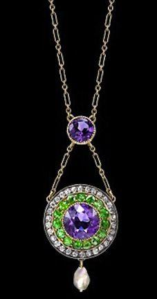 Suffragette - green, white, violet (Give Women Vote) - pendant