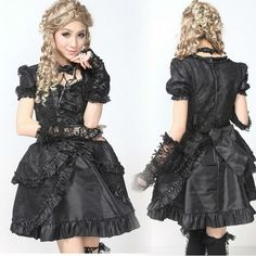 GLP Lolita Punk Gothic Wedding party Princess Sleeve onepiece ...
